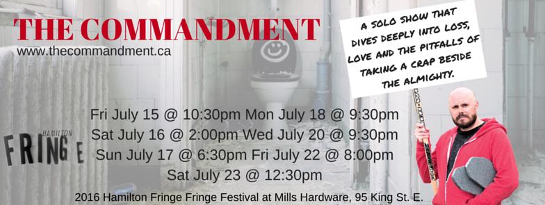 The Commandment title header for Hamilton Fringe Festival
