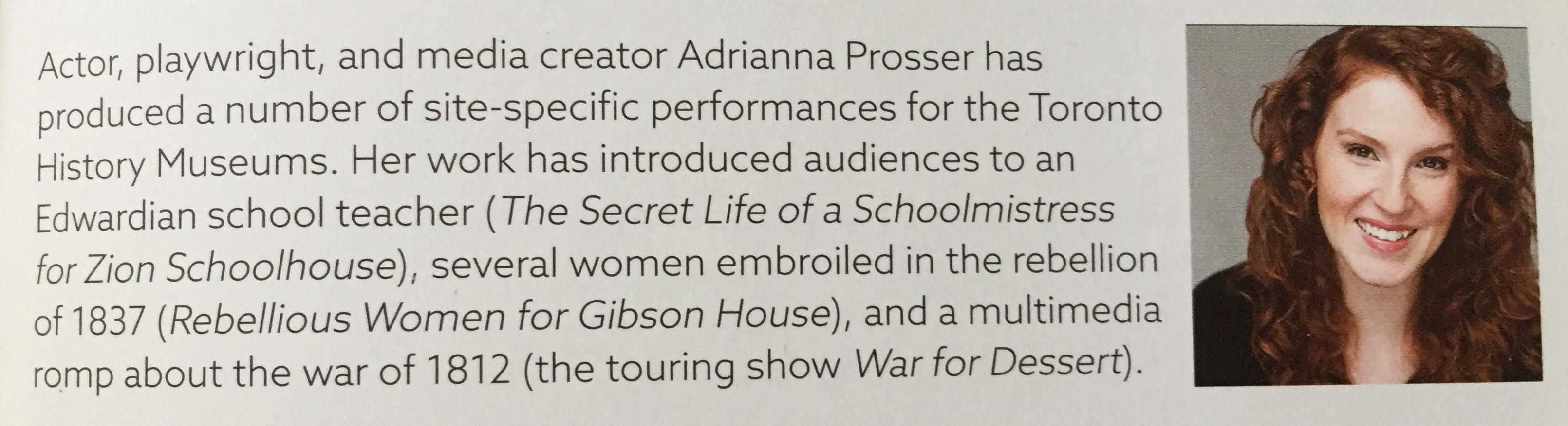 Adrianna in Toronto History Museum Magazine