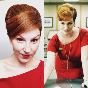 Joan Halloway from Season 1 Mad men as my inspiration for my hair and wardrobe