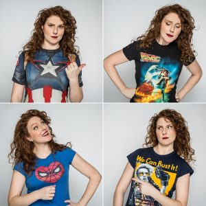 Adrianna Prosser in geeky T shirts ona grid