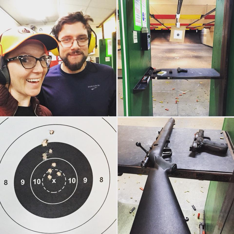 at the gun range with my brother, target practice