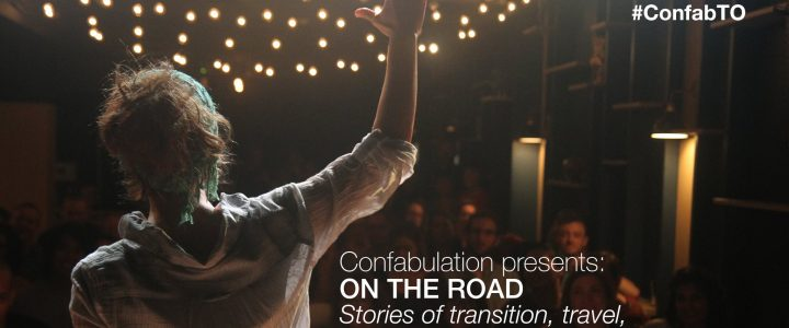 Confabulations Storyteller banner art with someone speaking on stage to an audience