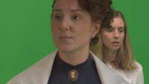Adrianna as Dottie Green screen on set of Spell Tutor