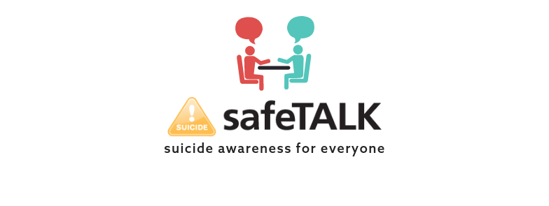 safe talk suicide alertness for everyone banner image of two stick people talking