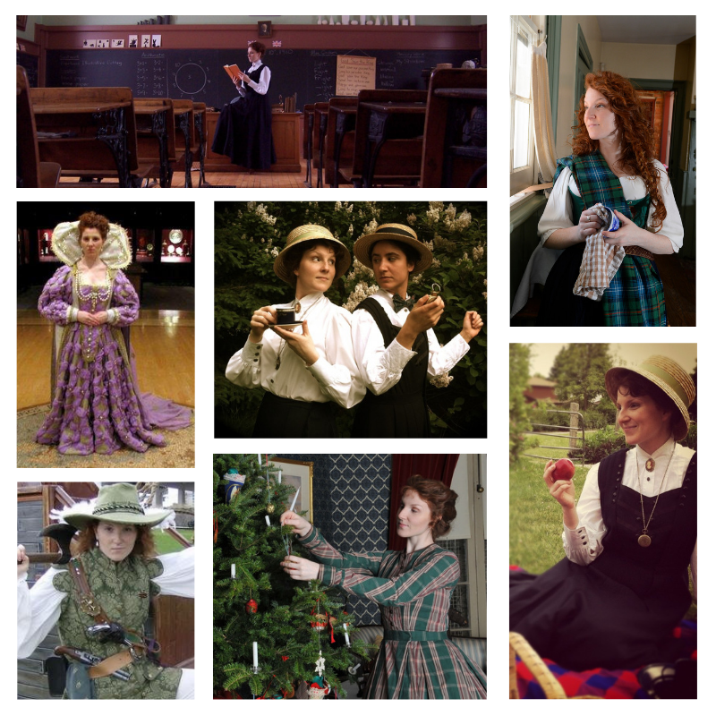 Historical Interpretation collage of Adrianna in different costumes and time periods