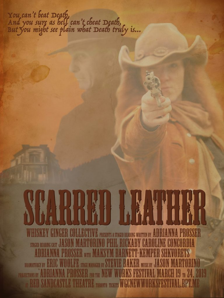 Western poster with a red head in an orange duster coat and pistol raised to the viewer, the ghost of a man in all black in a black cowboy hat. in the distance a hauntingly dark saloon sits vacant on the hills of Canada in 1842