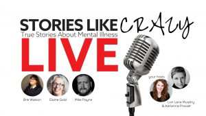 Stories Like Crazy LIVE banner art with guest storytellers and a microphone image