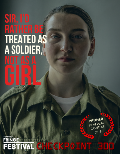 "caucasian female soldier looking right at the viewer in uniform with quote ""Sir, I'd rather be treated as a soldier not as a girl"""