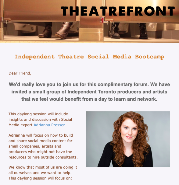 "theatrefront's event detail ""social Media Bootcamp"" with Adrianna Prosser"