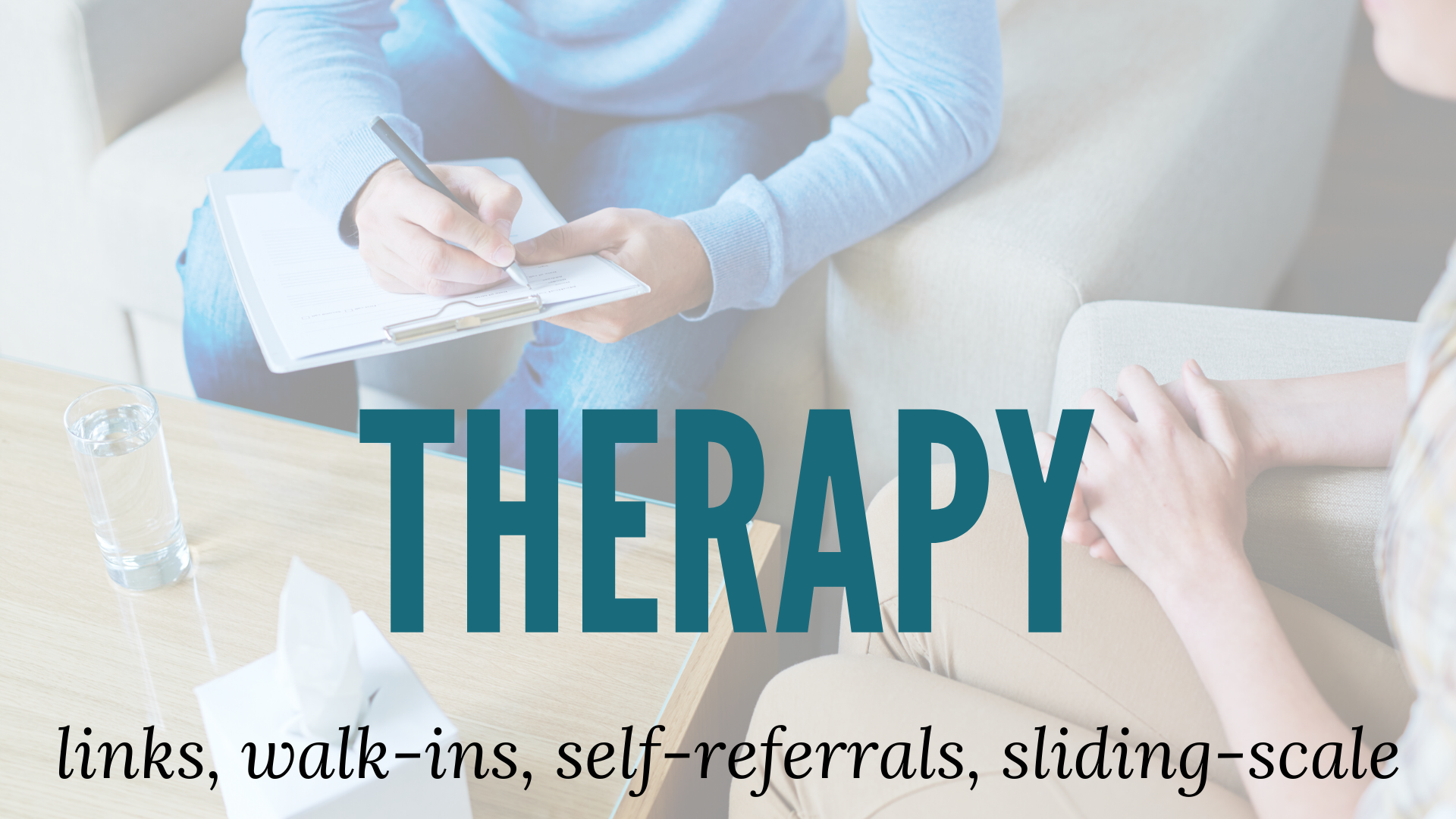 therapy resources banner art with a person in therapy with their therapist taking notes
