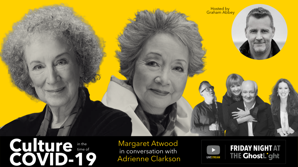Margaret Atwood, Adrienne Clarkson, Graham Abbey, Colin Mochrie, Deb Mcgrath, Torquil Campbell, CHilina Kennedy pose for Friday Night at the GhostLight poster art for event