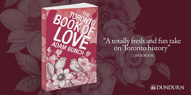 book cover in red and white titled Toronto Book of Love by Adam Bunch